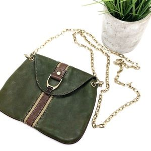 COLE HAAN•Leather Green Gold Chain Long Purse